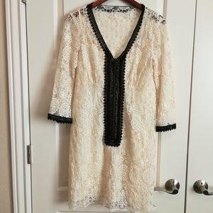 Nanette lepore cream lace dress with black lace